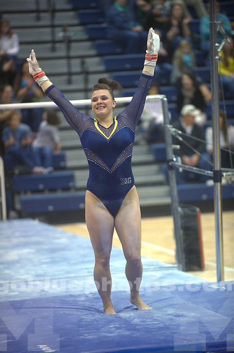 The University of Michigan women's gymnastics team compete in the 2014 Big Ten Women's Gymnastics Championships in State College, Penn., on March 22, 2014.