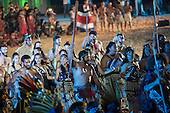 The New Zealand Maori delegation performs a traditional dance during the opening ceremony at the first ever International Indigenous Games, in the city of Palmas, Tocantins State, Brazil. Photo © Sue Cunningham, pictures@scphotographic.com 23rd October 2015
