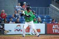 John Ryan Murphy (12) of the Gwinnett Stripers at bat against the Scranton/Wilkes-Barre RailRiders at BB&T BallPark on August 16, 2019 in Lawrenceville, Georgia. The Stripers defeated the RailRiders 5-2. (Brian Westerholt/Four Seam Images)