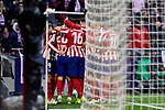 Players of Atletico de Madrid celebrate goal during La Liga match between Atletico de Madrid and RCD Espanyol at Wanda Metropolitano Stadium in Madrid, Spain. November 10, 2019. (ALTERPHOTOS/A. Perez Meca)