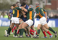 French second row Yoann Maestri finds himself surrounded during the Division A U19 World Championship clash against South Africa at Ravenhill.