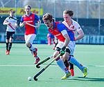 AMSTELVEEN - Rik van Kan (Adam) met Daan Dullemeijer (SCHC)     tijdens  de hoofdklasse competitiewedstrijd hockey heren,  Amsterdam-SCHC (3-1).  COPYRIGHT KOEN SUYK