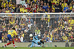 29 May 2008: Colombia fans watch in dismay as a deflected shot from Robbie Keane (IRL) (not pictured) skips past goalkeeper Robinson Zapata (COL) (12) for the game's only goal, scored in the third minute. The Republic of Ireland Men's National Team defeated the Colombia Men's National Team 1-0 at Craven Cottage in London, England in an international friendly soccer match.