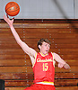 Bobby Connors #15 of Chaminade makes an acrobatic play to keep a ball inbounds during a non-league varsity boys basketball game against host Long Island Lutheran High School on Friday, Dec. 16, 2016.