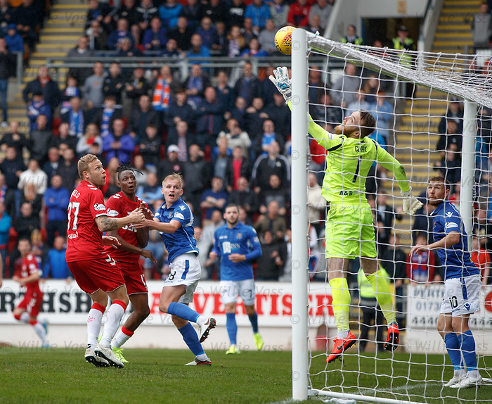 22.09.2019 St Johnstone v Rangers: Joe Aribo's header comes back off Zander Clark's bar