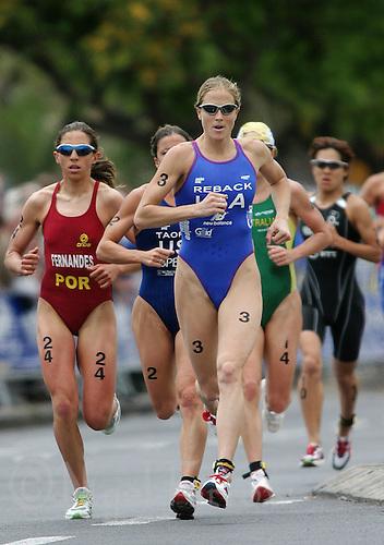 09 MAY 2004 - FUNCHAL, MADEIRA - Laura Reback (USA) - Elite Womens World Triathlon Championships. (PHOTO (C) NIGEL FARROW)