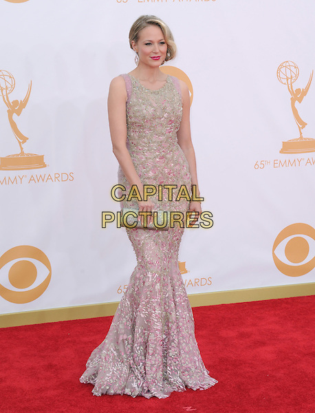 Jewel Kilcher<br /> The 65th Annual Primetime Emmy Awards - Arrivals held at The Nokia Theatre L.A. Live in Los Angeles, California, USA.<br /> September 22nd, 2013 <br /> full length dress pink pattern sleeveless clutch bag silver embellished jewel encrusted<br /> CAP/DVS<br /> &copy;DVS/Capital Pictures