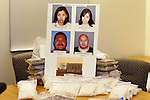 Glendale PD PIO, Tom Lorenz,  displays drugs valued at .about $5 million.Photos of four suspects arrested last week in a major drug case, including alleged ringleader Genero ``Henry'' Rodriguez. .Authorities seized 60 pounds of methamphetamine, four pounds of cocaine, a Hummer stretch limo, a speedboat and several other vehicles, and the currency. Glendale police station, 131 N. Isabel St. CA USA.6/14/04.Photo by Ted Soqui/Corbis c 2004