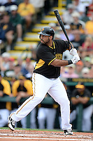 Third baseman Pedro Alvarez (24) of the Pittsburgh Pirates during a spring training game against the New York Yankees on February 26, 2014 at McKechnie Field in Bradenton, Florida.  Pittsburgh defeated New York 6-5.  (Mike Janes/Four Seam Images)