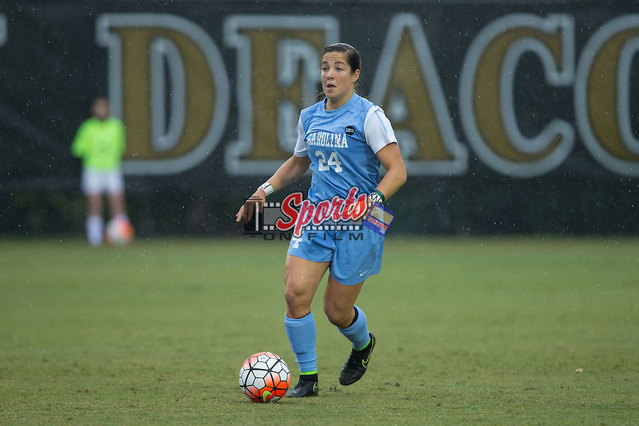 Paige Nielsen (24) of the North Carolina Tar Heels during first half action against the Wake Forest Demon Deacons at Spry Soccer Stadium on September 27, 2015 in Winston-Salem, North Carolina.  The Tar Heels defeated the Demon Deacons 1-0.  (Brian Westerholt/Sports On Film)