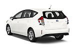 Car pictures of rear three quarter view of a 2015 Toyota Prius v Four 4 Door Hatchback Angular Rear