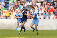 Bridgeview, IL - Sunday May 29, 2016: Sky Blue FC forward Kim DeCesare (12) and Chicago Red Stars defender Katie Naughton (5). The Chicago Red Stars and Sky Blue FC played to a 1-1 tie during a regular season National Women's Soccer League (NWSL) match at Toyota Park.