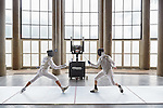 30.7.2015, Berlin Olympic Park. Competitions during the 14th European Maccabi Games. Fencing practice