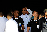 Winston Reid prepares to lead the All Whites out for the 2018 FIFA World Cup Russia first-leg playoff football match between the NZ All Whites and Peru at Westpac Stadium in Wellington, New Zealand on Saturday, 11 November 2017. Photo: Dave Lintott / lintottphoto.co.nz