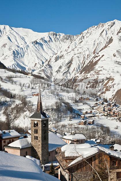 Europe/France/Rhône-Alpes/73/Savoie/Vallée de Belleville/Saint-Martin-de-Belleville: la sation village, son clocher