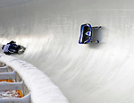6 February 2009: Sandra Gasparini from Italy falls off her sled during her second run, unable to finish in the Women's Competition at the 41st FIL Luge World Championships, in Lake Placid, New York, USA. .  .Mandatory Photo Credit: Ed Wolfstein Photo