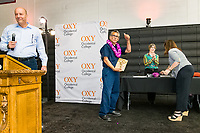 Presidential Medal for Distinguished Service, Samuel Hernandez<br /> The Occidental College Human Resources Department hosts Employee Recognition Day on Thursday, May 23, 2019 in Rush Gym. Distinguished service awards were presented for service and excellence, in addition to annual recognition for yearly milestones.<br /> <br /> (Photo by Don Milici, Freelance)