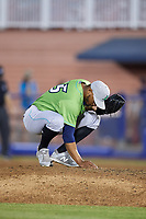 Lynchburg Hillcats relief pitcher Dalbert Siri (45) attending to the mound during a game against the Salem Red Sox on May 10, 2018 at Haley Toyota Field in Salem, Virginia.  Lynchburg defeated Salem 11-5.  (Mike Janes/Four Seam Images)