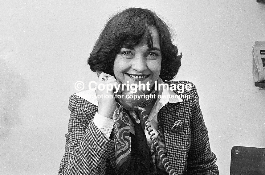 Mairead Corrigan, Peace People, Belfast, N Ireland, speaking on phone the day she jointly won the Nobel Peace Prize with co-founder, Betty Williams. 197710100143.<br /> <br /> Copyright Image from Victor Patterson, 54 Dorchester Park, Belfast, UK, BT9 6RJ<br /> <br /> t: +44 28 90661296<br /> m: +44 7802 353836<br /> vm: +44 20 88167153<br /> e1: victorpatterson@me.com<br /> e2: victorpatterson@gmail.com<br /> <br /> For my Terms and Conditions of Use go to www.victorpatterson.com