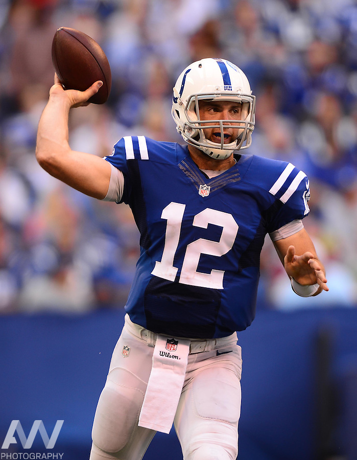 Sep 28, 2014; Indianapolis, IN, USA; Indianapolis Colts quarterback Andrew Luck (12) looks to pass during the third quarter against the Tennessee Titans at Lucas Oil Stadium. Mandatory Credit: Andrew Weber-USA TODAY Sports