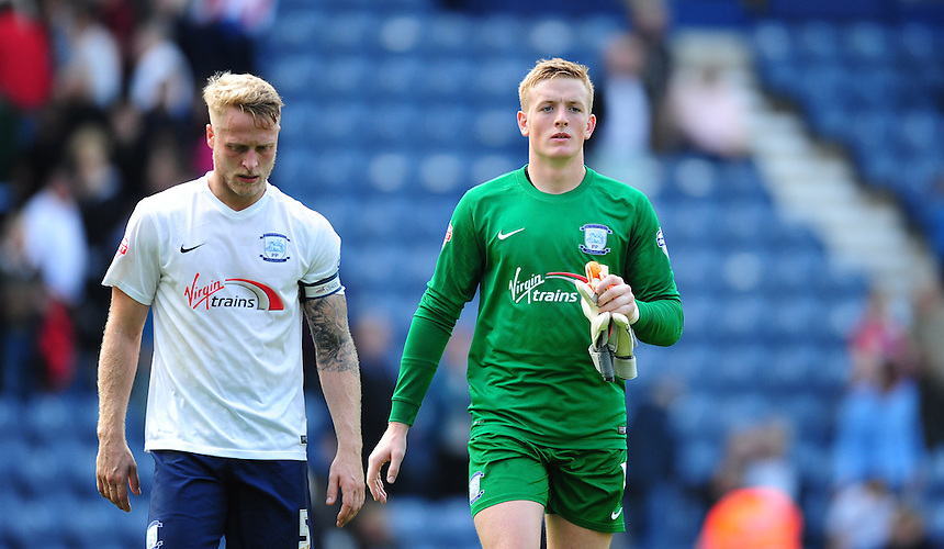 Preston North End's Tom Clarke, left, with team-mate Jordan Pickford walk off the pitch at the end of the game<br /> <br /> Photographer Chris Vaughan/CameraSport<br /> <br /> Football - The Football League Sky Bet Championship - Preston North End v Ipswich Town - Saturday 22nd August 2015 - Deepdale - Preston<br /> <br /> &copy; CameraSport - 43 Linden Ave. Countesthorpe. Leicester. England. LE8 5PG - Tel: +44 (0) 116 277 4147 - admin@camerasport.com - www.camerasport.com