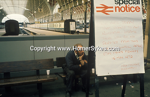 "Paddington main line railways station. May 14th 1972. The first ever national strike. No trains ran in England for the first time that day. London. UK. Special Notice says:- ""... There will be no services from this station until after 0700 hours Monday 15 may 1972"""