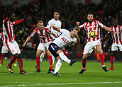 9th December 2017, Wembley Stadium, London England; EPL Premier League football, Tottenham Hotspur versus Stoke City; Harry Kane of Tottenham Hotspur with a volley shot which missed the target