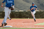 Western Nevada Wildcats' Jake Bennett (15) runs to third while playing against the Salt Lake Community College Bruins at WNC in Carson City, Nev., on Sunday, March 2, 2014. The Bruins won game 1 of a double-header against the Wildcats in overtime 9-4.<br /> (Photo by Kevin Clifford)