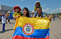 SARANSK - RUSIA, 19-06-2018: Hinchas de Colombia animan a su equipo previo al partido de la primera fase, Grupo H, entre Colombia y Japón por la Copa Mundial de la FIFA Rusia 2018 jugado en el estadio Mordovia Arena en Saransk, Rusia. / Fans of Colombia cheer for their team prior the match between Colombia and Japan of the first phase, Group H, for the FIFA World Cup Russia 2018 played at Mordovia Arena stadium in Saransk, Russia. Photo: VizzorImage / Julian Medina / Cont
