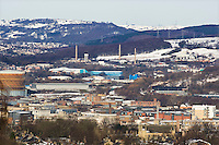 The upper Don Valley in Sheffield with Sheffield Wednesday Football ground in the distance
