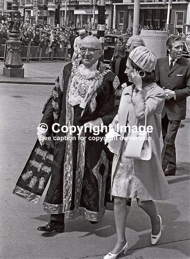 Princess Margaret arriving for a reception at the City Hall, Belfast, N Ireland, UK. She is accompanied by the Lord Mayor, William Geddis. Also in the photo is Princess Margaret's husband, Lord Snowdon. 196705240012<br /> <br /> Copyright Image from Victor Patterson, 54 Dorchester Park, Belfast, UK, BT9 6RJ<br /> <br /> t: +44 28 90661296<br /> m: +44 7802 353836<br /> vm: +44 20 88167153<br /> e1: victorpatterson@me.com<br /> e2: victorpatterson@gmail.com<br /> <br /> For my Terms and Conditions of Use go to www.victorpatterson.com