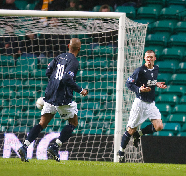 Colin McMemamin looks embarrased as he celebrates after he rolls the ball in to score for Dundee