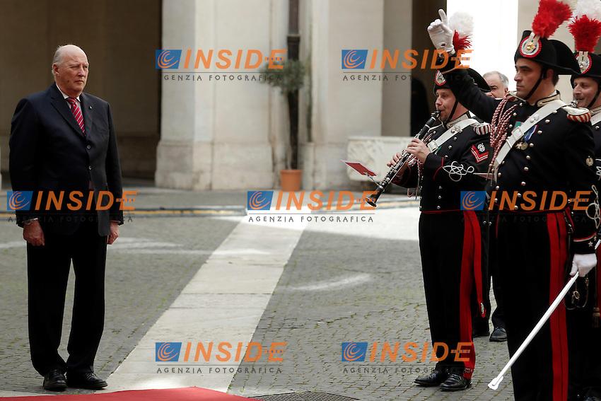 Re Harald V <br /> Roma 06-04-2016 Palazzo Chigi. Visita dei Reali di Norvegia.<br /> Rome 6th April 2016. Arriving of the Royals of Norway.<br /> Photo Samantha Zucchi Insidefoto