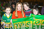 Keeping the flag flying for the Kerry ladies at the homecoming in Killorglin on Monday evening was l-r: Chantelle Broderick Castleisland, Sinead Horgan, Ciara and Caitlin Horgan..