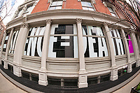 "The windows of the Leslie-Lohman Museum of Gay and Lesbian Art in Soho in New York on Wednesday, June 7, 2017 are decorate with the slogan ""Silence=Death"" for the exhibition ""Silence=Death Collective"". (© Richard B. Levine)"