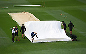 23rd March 2018, Eden Park, Auckland, New Zealand; International Test Cricket, New Zealand versus England, day 2;  Grounstaff with covers on the wicket