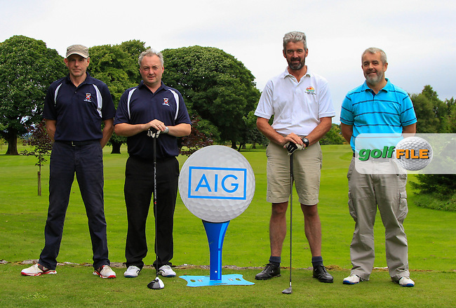 Sean Haugh &amp; Declan Prendergast (Castlebar) and Pat Ruane &amp; Brendan Keane (Enniscrone) on the 1st tee during the AIG Connacht Pierce Purcell Shield Semi-Finals of the AIG Connacht Cups &amp; Shields Finals 2016 at Ballinrobe Golf Club, Ballinrobe Co. Mayo on Saturday 6th August 2016.<br /> Picture:  Golffile | Thos Caffrey<br /> <br /> All photos usage must carry mandatory copyright credit   (&copy; Golffile | Thos Caffrey)