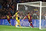 UEFA Champions League 2013/2014.<br /> Quarter-finals 1st leg.<br /> FC Barcelona vs Club Atletico de Madrid: 1-1.<br /> Neymar, Filipe Luis &amp; Alexis Sanchez.
