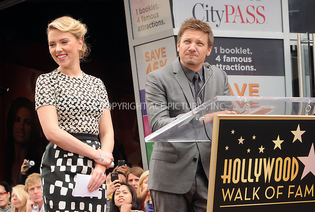 WWW.ACEPIXS.COM . . . . .  ....May 2 2012, LA....Actress Scarlett Johansson with Jeremy Renner, is honored on the Hollywood Walk of Fame on May 2, 2012 in Hollywood, California. ....Please byline: PETER WEST - ACE PICTURES.... *** ***..Ace Pictures, Inc:  ..Philip Vaughan (212) 243-8787 or (646) 769 0430..e-mail: info@acepixs.com..web: http://www.acepixs.com