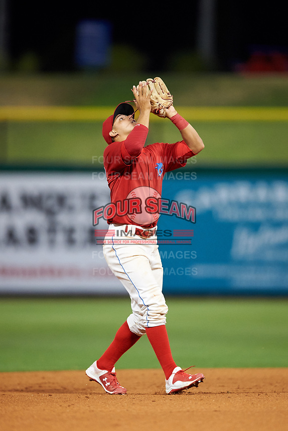Clearwater Threshers Emmanuel Marrero settles under a pop up during the second game of a doubleheader against the Palm Beach Cardinals on April 13, 2017 at Spectrum Field in Clearwater, Florida.  Palm Beach defeated Clearwater 1-0.  (Mike Janes/Four Seam Images)