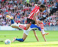 Lincoln City's Matt Green is tackled by Sheffield Wednesday's Jack Lee<br /> <br /> Photographer Chris Vaughan/CameraSport<br /> <br /> Football Pre-Season Friendly - Lincoln City v Sheffield Wednesday - Friday 13th July 2018 - Sincil Bank - Lincoln<br /> <br /> World Copyright &copy; 2018 CameraSport. All rights reserved. 43 Linden Ave. Countesthorpe. Leicester. England. LE8 5PG - Tel: +44 (0) 116 277 4147 - admin@camerasport.com - www.camerasport.com