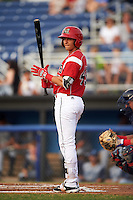 Batavia Muckdogs shortstop J.J. Gould (49) at bat during a game against the Brooklyn Cyclones on July 6, 2016 at Dwyer Stadium in Batavia, New York.  Batavia defeated Brooklyn 15-2.  (Mike Janes/Four Seam Images)