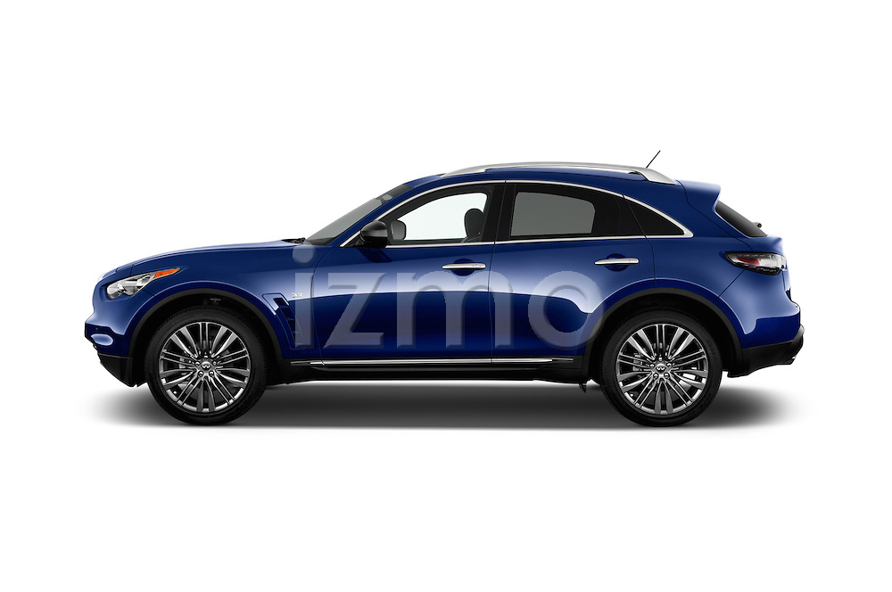Car Driver side profile view of a 2017 Infiniti QX70 3.7 5 Door SUV Side View