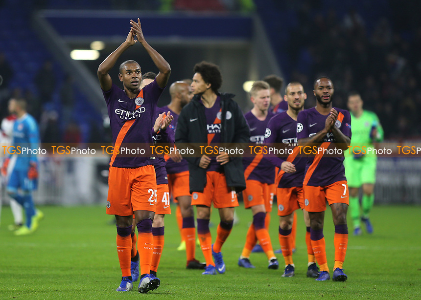 Fernandinho applauds the Manchester City fans at the end of the match during Lyon vs Manchester City, UEFA Champions League Football at Groupama Stadium on 27th November 2018