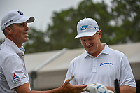 Ernie Els (RSA) shares a laugh with Matt Kuchar (USA) on the tee on 1 during day 3 of the Valero Texas Open, at the TPC San Antonio Oaks Course, San Antonio, Texas, USA. 4/6/2019.<br /> Picture: Golffile | Ken Murray<br /> <br /> <br /> All photo usage must carry mandatory copyright credit (© Golffile | Ken Murray)