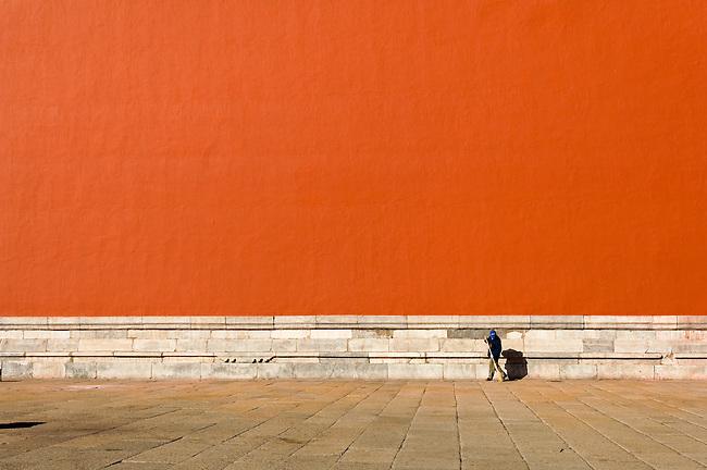 Worker, Street Sweeper, Beijing, China