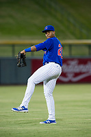 AZL Cubs left fielder Nelson Velazquez (20) warms up in the outfield during the game against the AZL Mariners on August 4, 2017 at Sloan Park in Mesa, Arizona. AZL Cubs defeated the AZL Mariners 5-3. (Zachary Lucy/Four Seam Images)