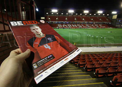 01.03.2016. Oakwell Stadium, Barnsley, England. Skybet League One. Barnsley versus Coventry City. A preview shot of the Ground and program ahead of tonights game against Coventry