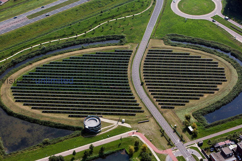 Aerial view of a solar energy site, Holland