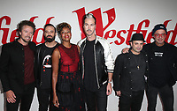 CENTURY CITY, CA - OCTOBER 03: Joseph Karnes, Michael Fitzpatrick, Noelle Scaggs, Jeremy Ruzumna, James King, and John Wicks of music group Fitz and the Tantrums, at Westfield Century City Reopening Celebration at Westfield Century City Mall, California on October 03, 2017. <br /> CAP/MPI/FS<br /> &copy;FS/MPI/Capital Pictures